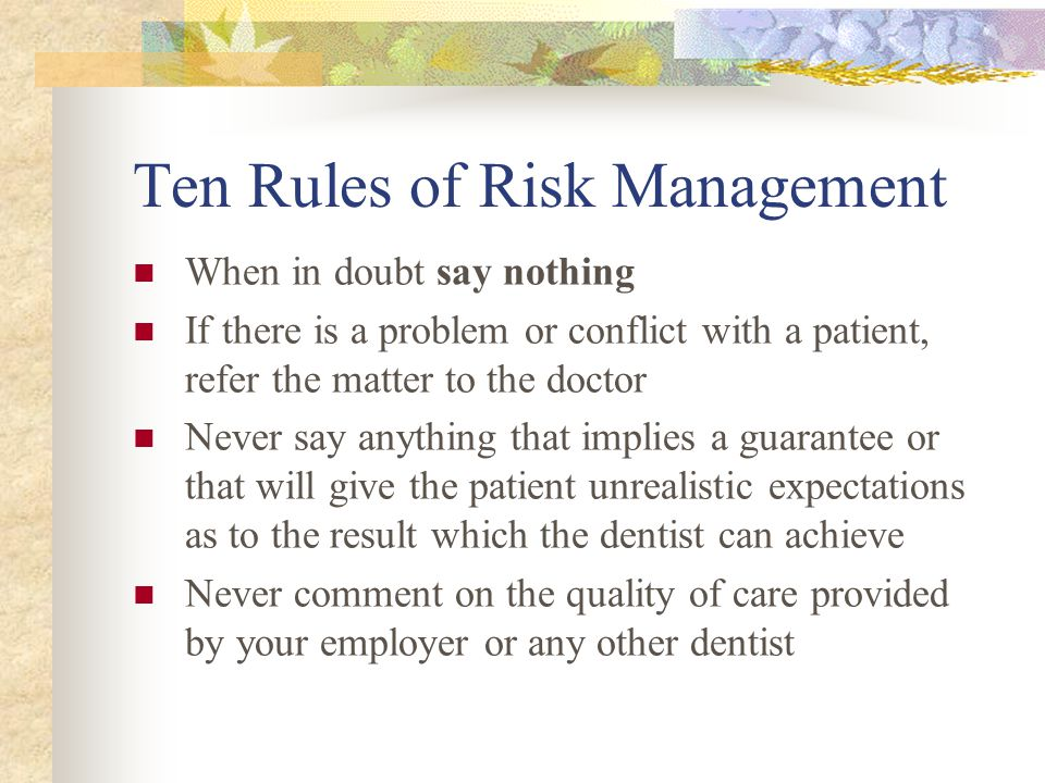 Ten Rules of Risk Management