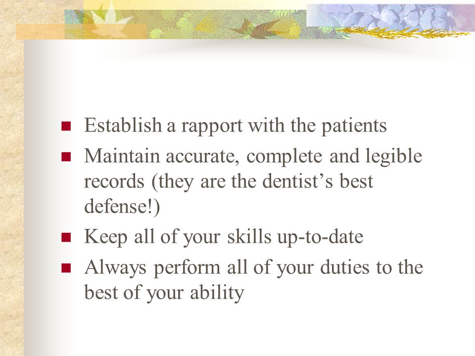 Establish a rapport with the patients