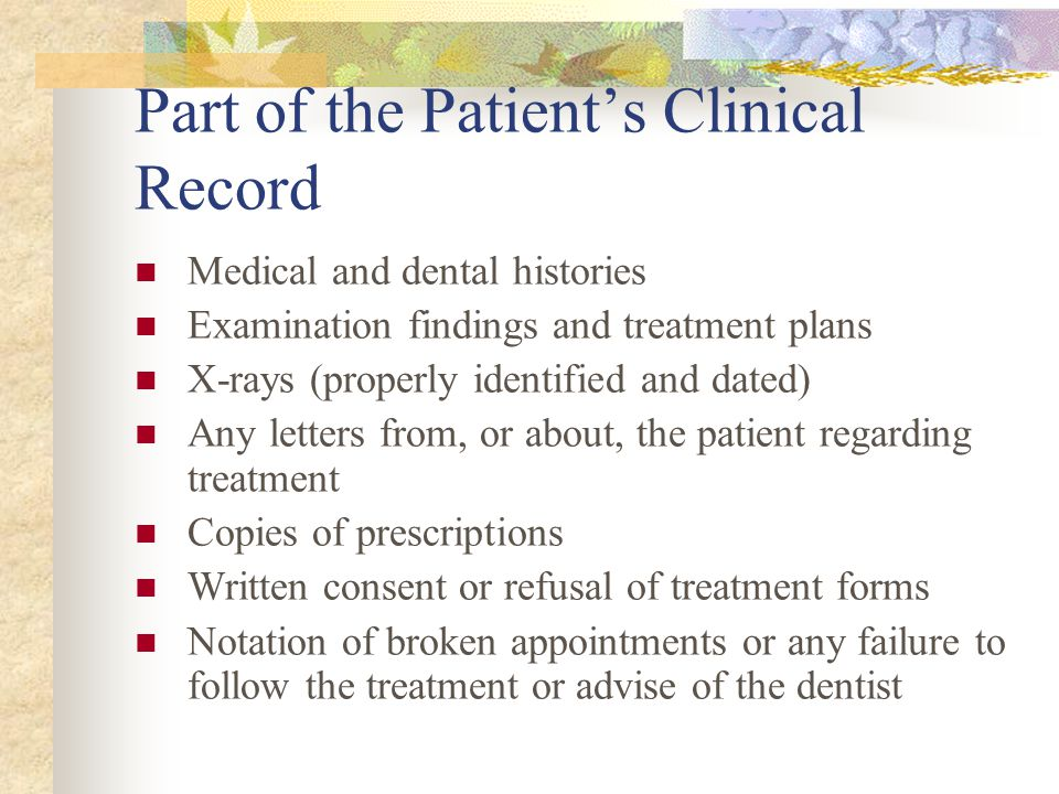 Part of the Patient's Clinical Record