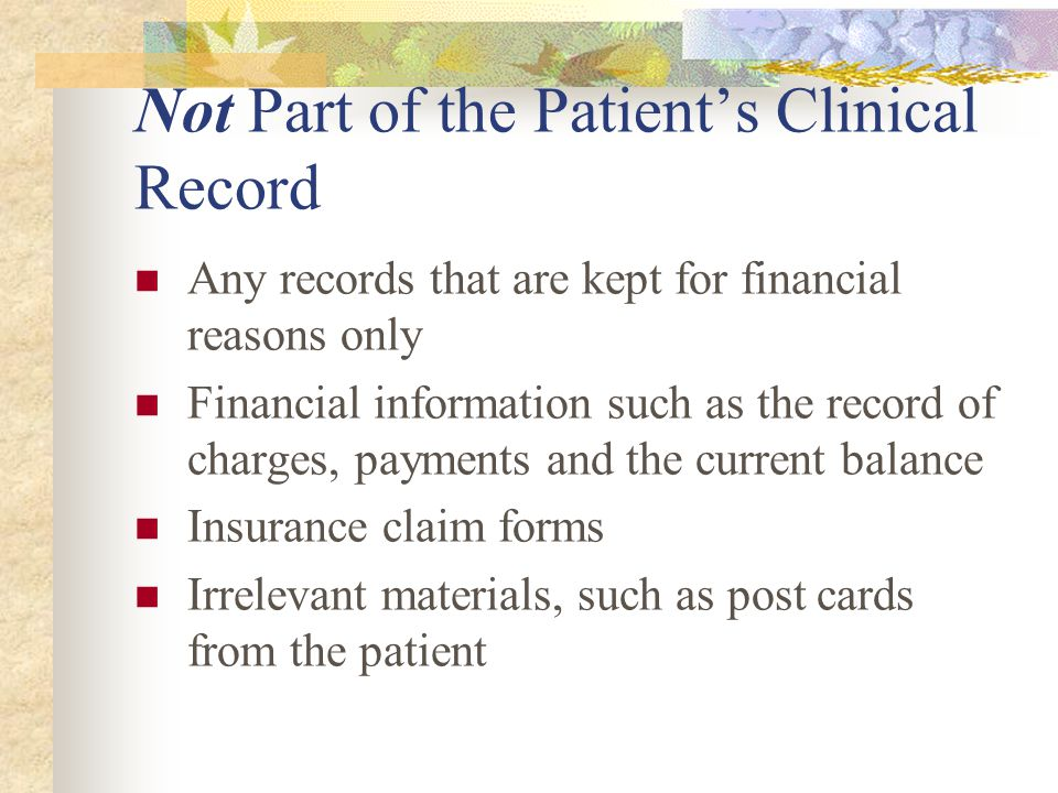 Not Part of the Patient's Clinical Record