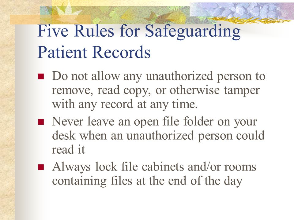 Five Rules for Safeguarding Patient Records