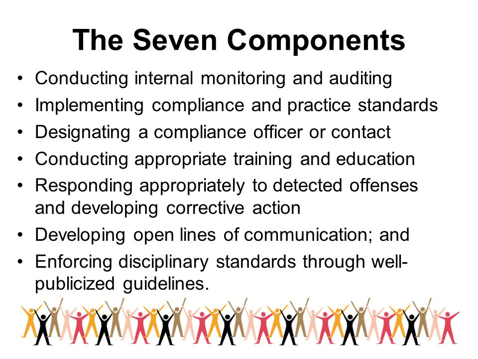 The Seven Components Conducting internal monitoring and auditing