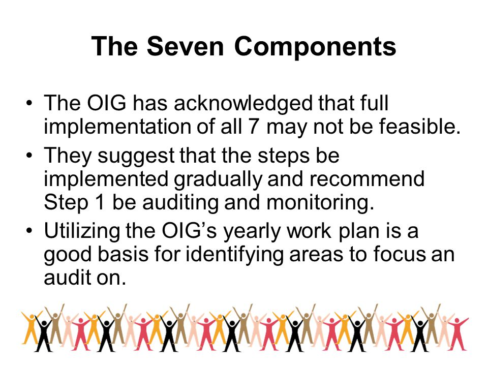 The Seven Components The OIG has acknowledged that full implementation of all 7 may not be feasible.