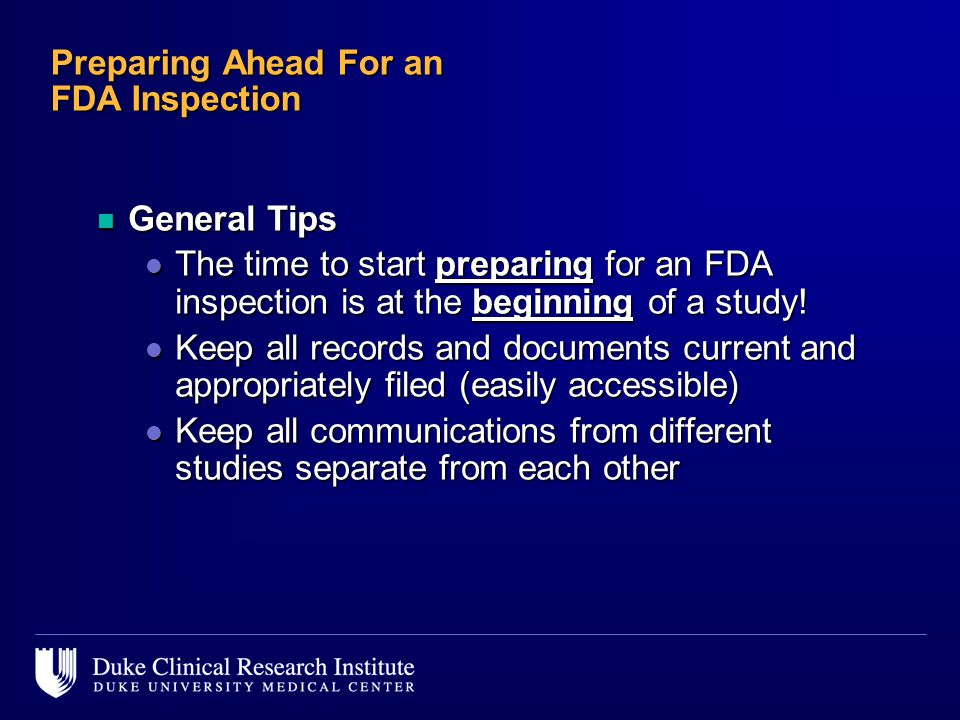 Preparing Ahead For an FDA Inspection