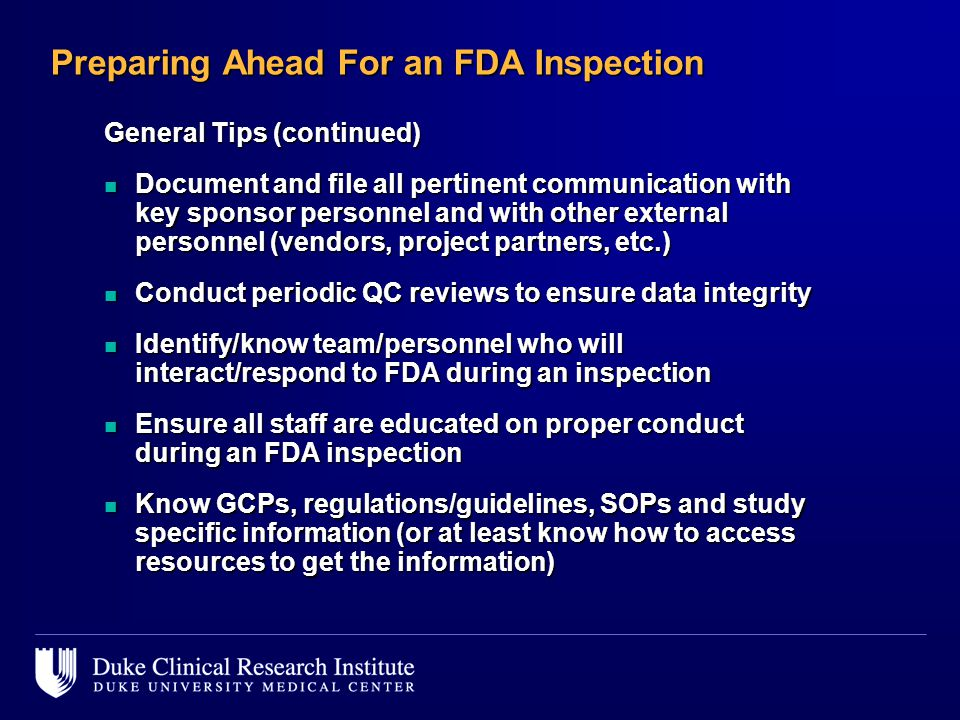 Preparing Ahead For an FDA Inspection