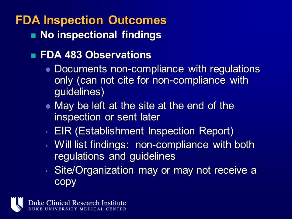 FDA Inspection Outcomes