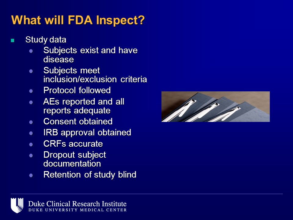 What will FDA Inspect Subjects exist and have disease