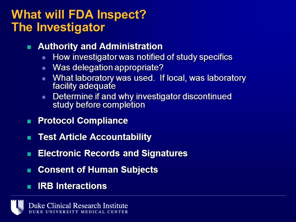 What will FDA Inspect The Investigator
