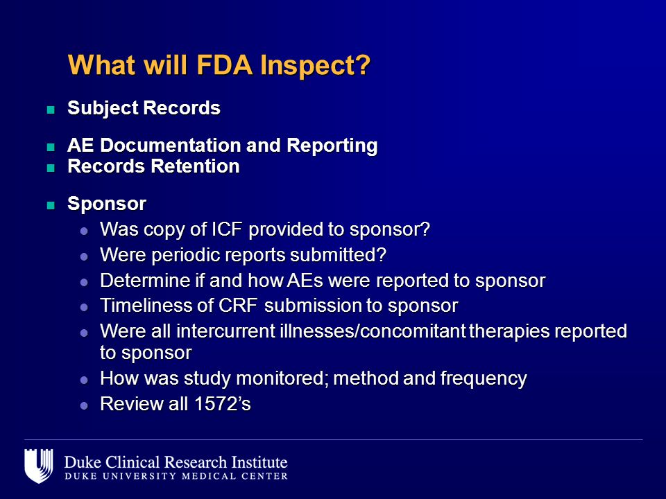 What will FDA Inspect Subject Records AE Documentation and Reporting