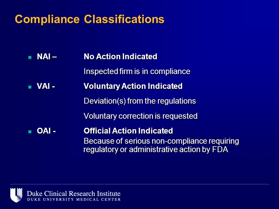 Compliance Classifications