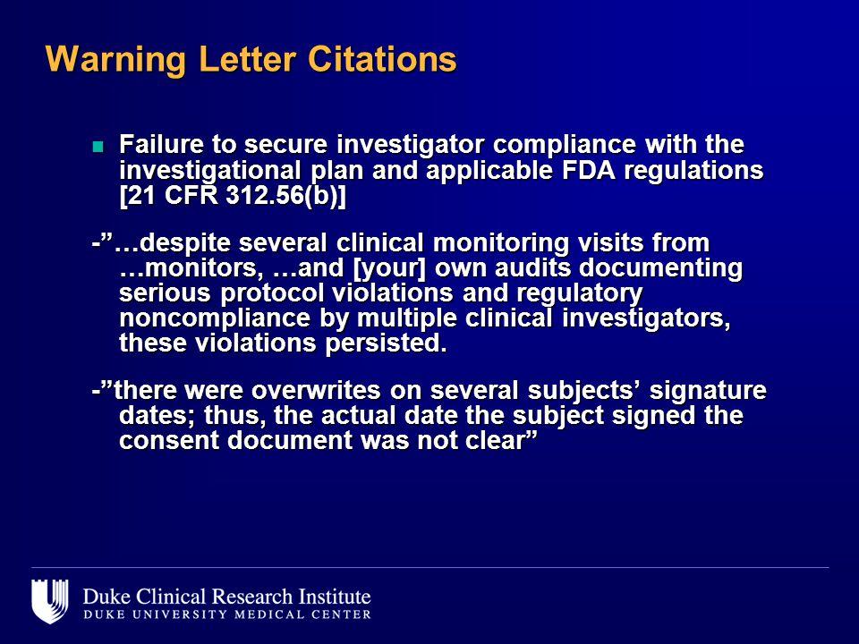 Warning Letter Citations