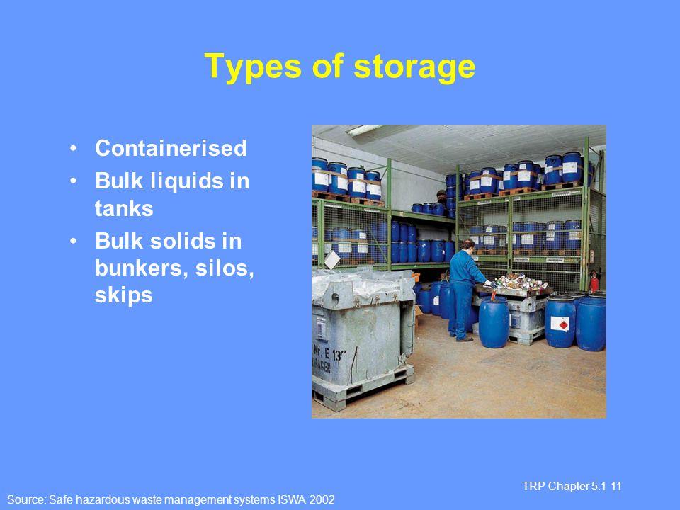 Types of storage Containerised Bulk liquids in tanks