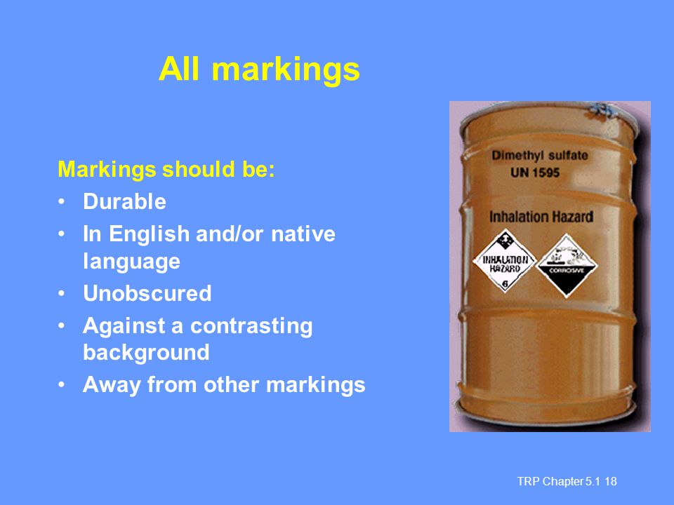 All markings Markings should be: Durable