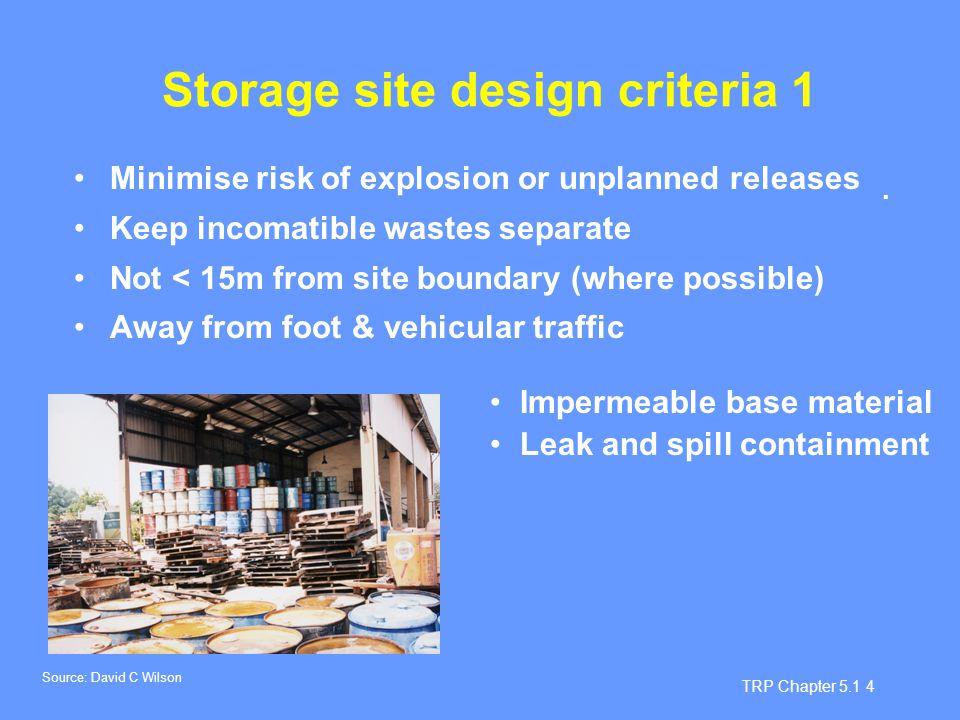 Storage site design criteria 1