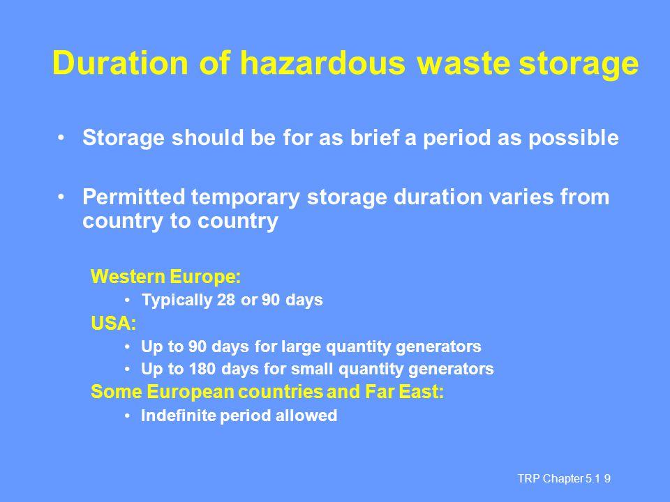 Duration of hazardous waste storage