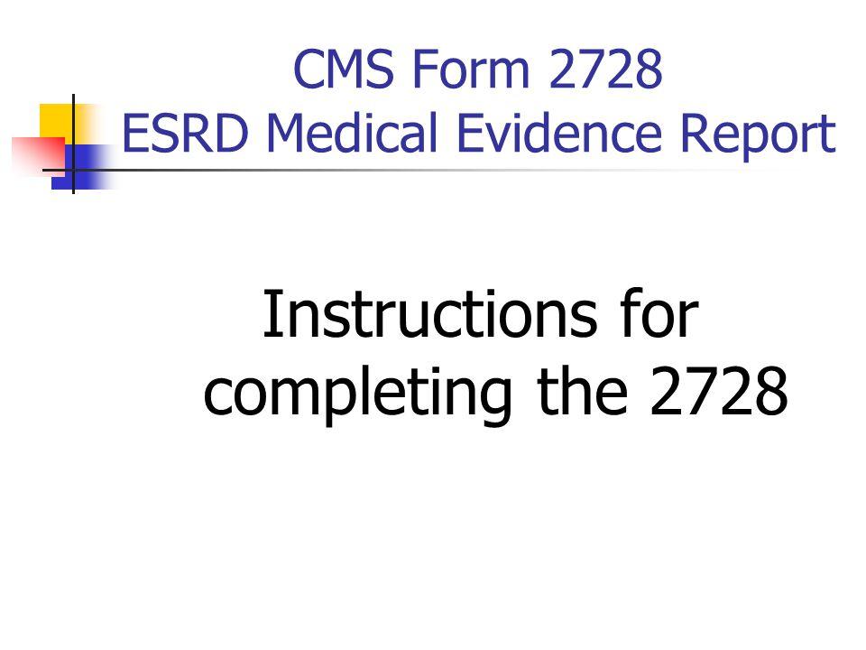 CMS Form 2728 ESRD Medical Evidence Report