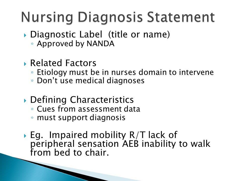 Nursing Diagnosis Statement