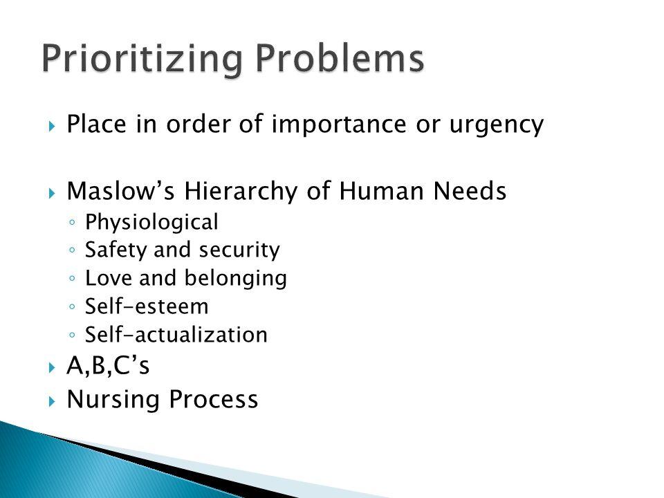 Prioritizing Problems