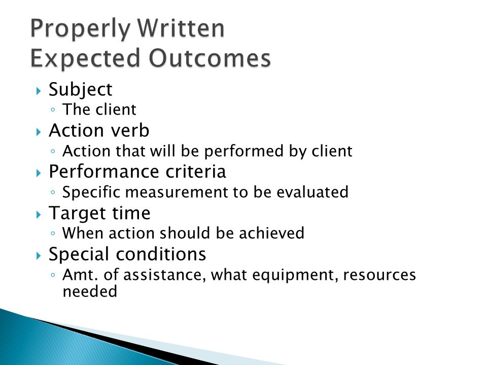 Properly Written Expected Outcomes