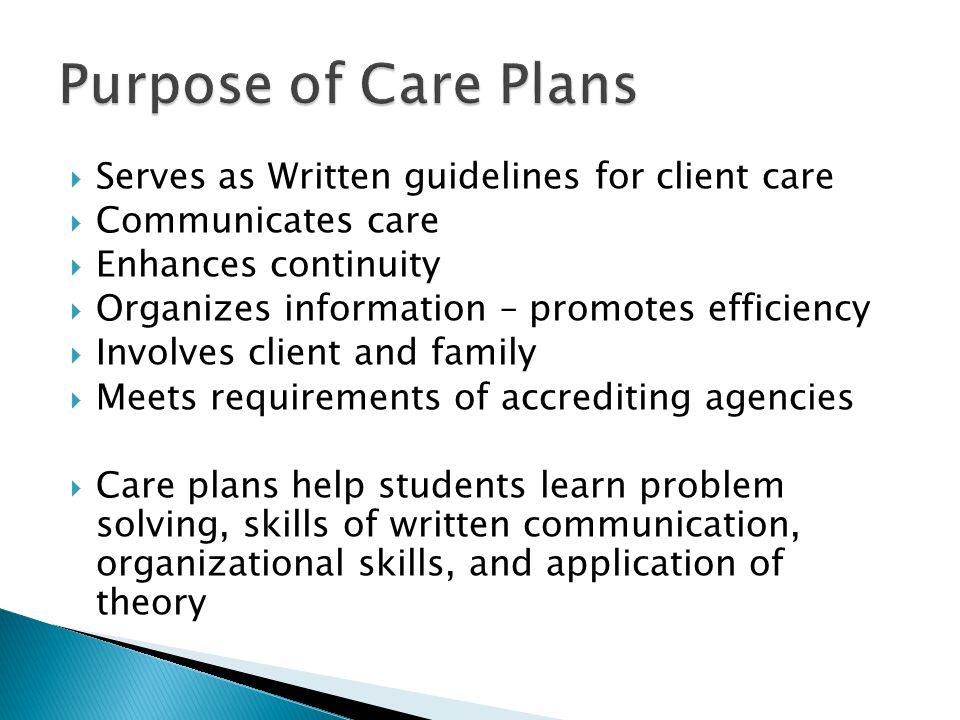 Purpose of Care Plans Serves as Written guidelines for client care