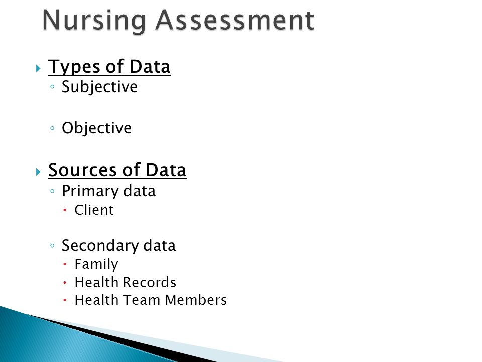 Nursing Assessment Types of Data Sources of Data Subjective Objective
