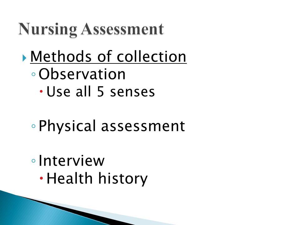 Nursing Assessment Methods of collection Observation