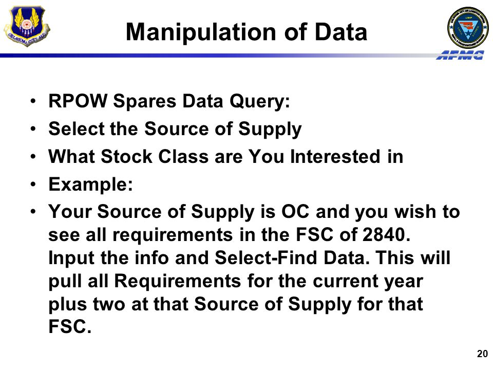 Manipulation of Data RPOW Spares Data Query: