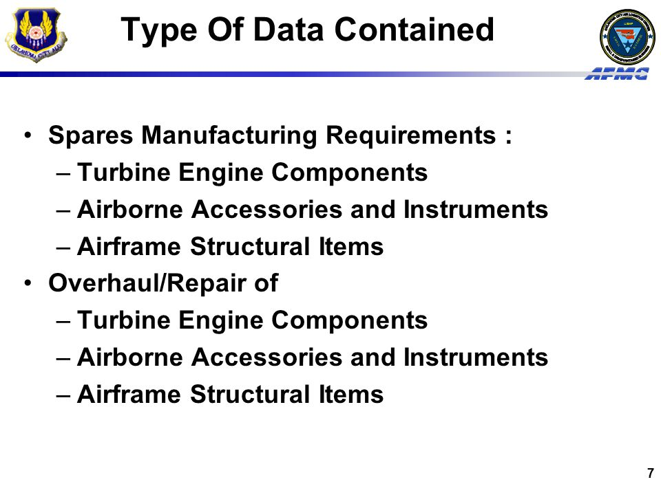 Type Of Data Contained Spares Manufacturing Requirements :