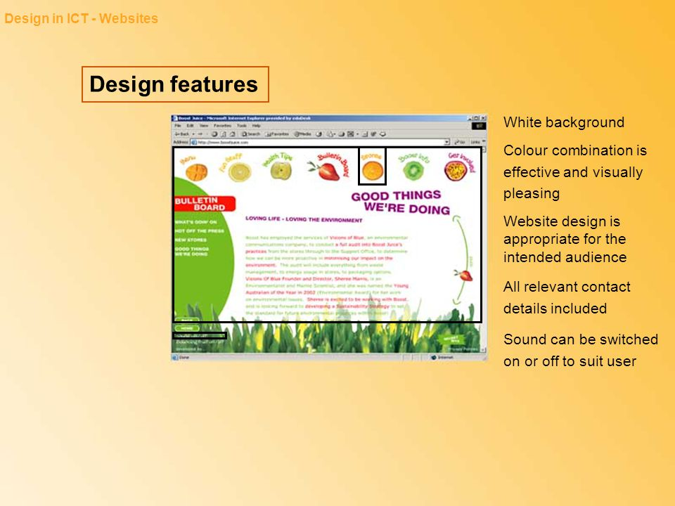 Design features White background