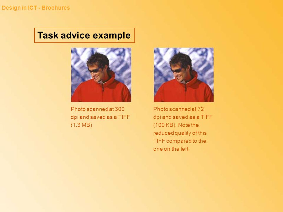 Task advice example Design in ICT - Brochures