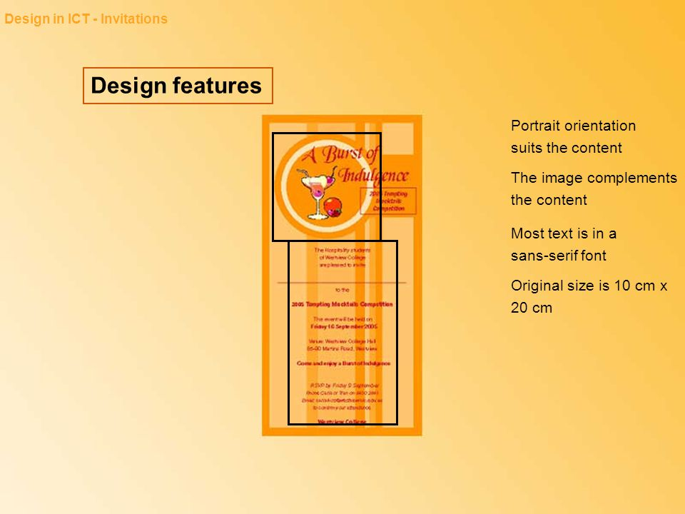 Design features Portrait orientation suits the content