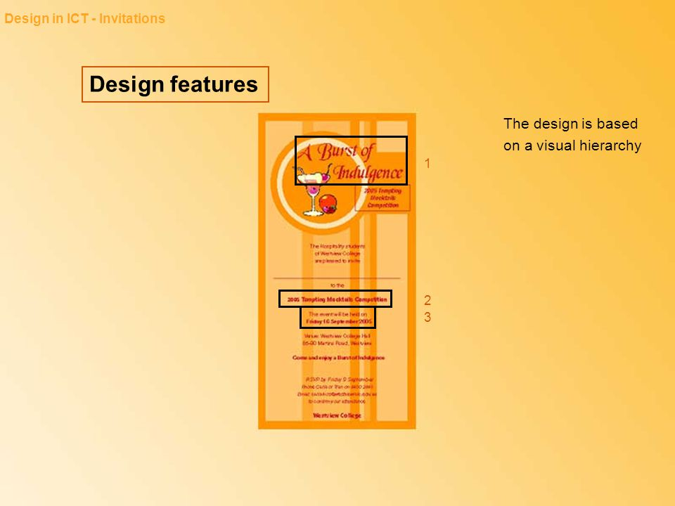 Design features The design is based on a visual hierarchy