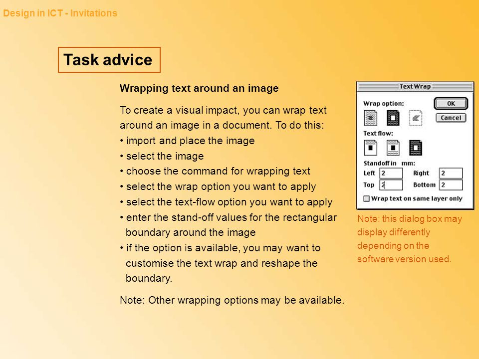 Task advice Wrapping text around an image