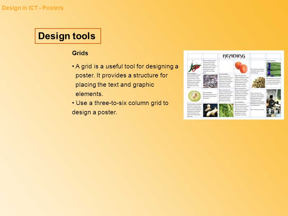 Design in ICT - Posters Design tools. Grids.