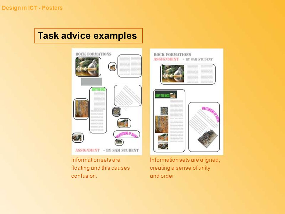 Task advice examples Design in ICT - Posters