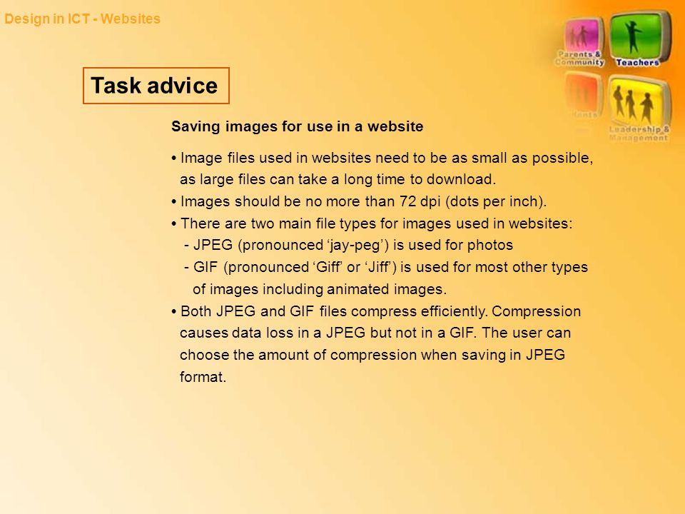 Task advice Saving images for use in a website