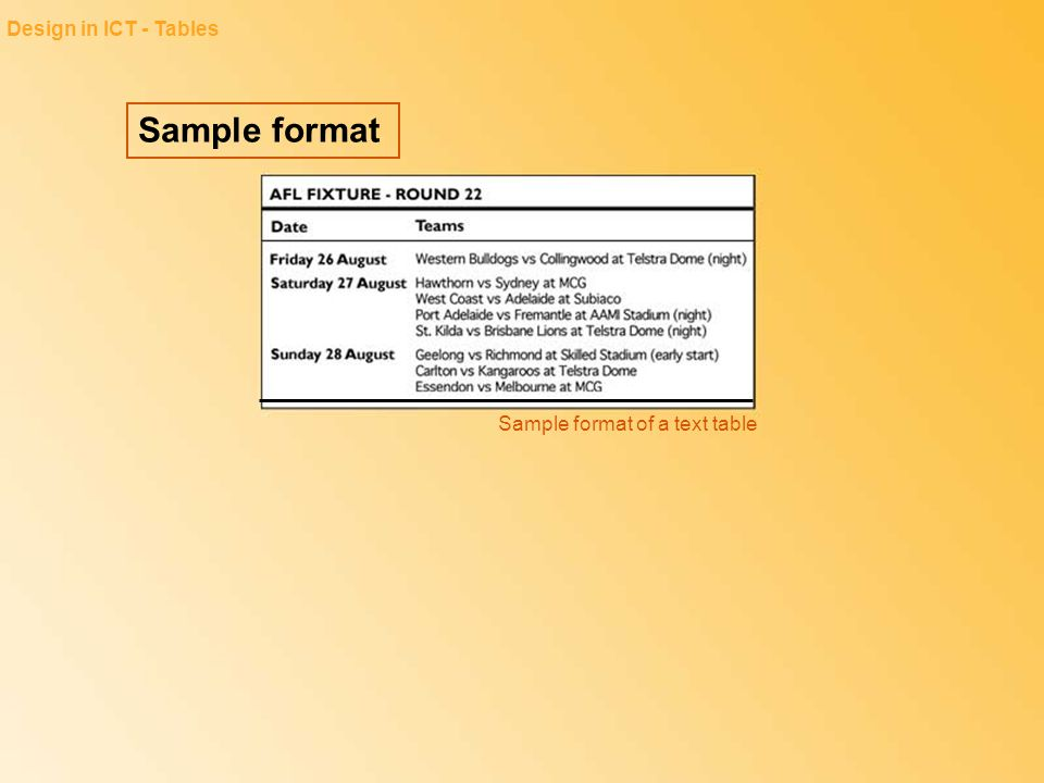 Design in ICT - Tables Sample format Sample format of a text table