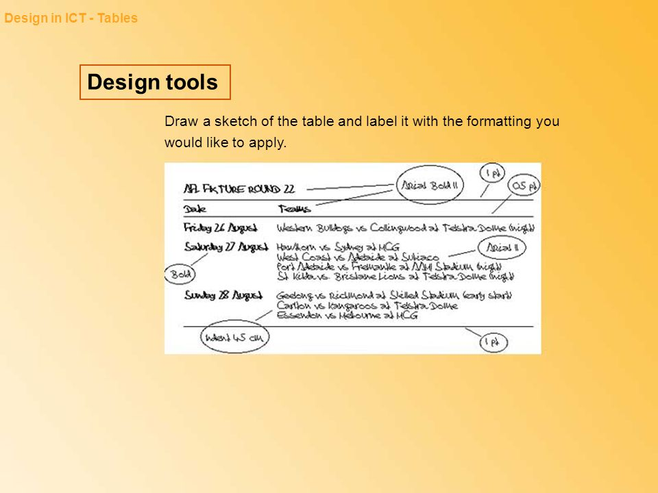 Design in ICT - Tables Design tools.
