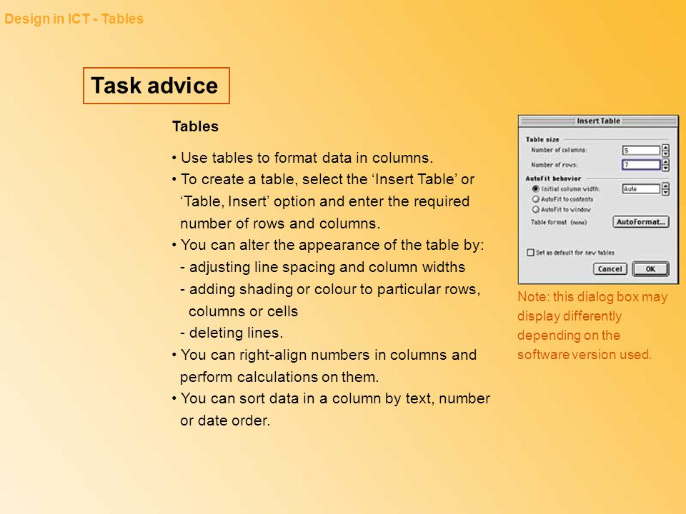 Design in ICT - Tables Task advice. Tables.