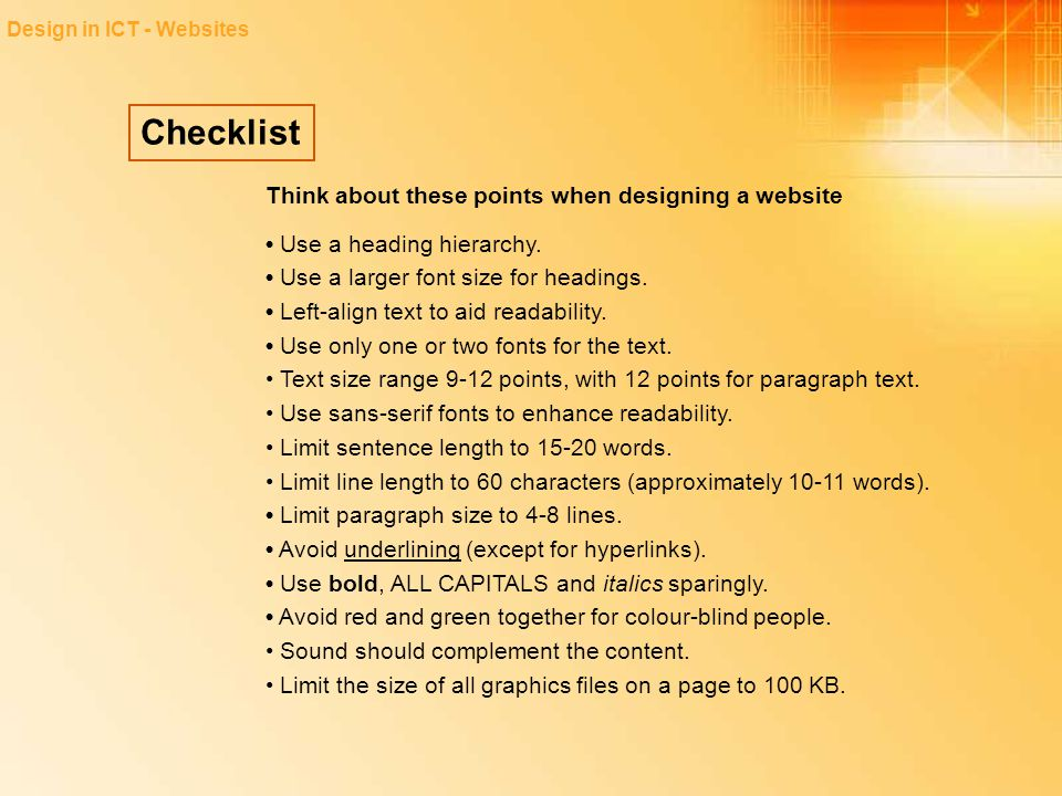 Checklist Think about these points when designing a website