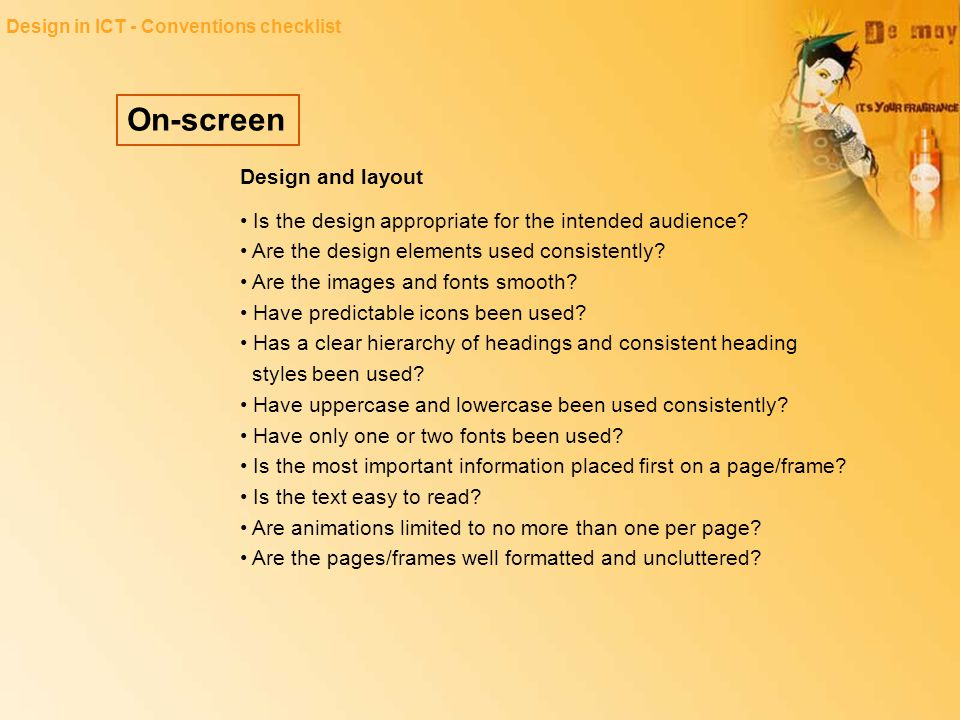 On-screen Design and layout