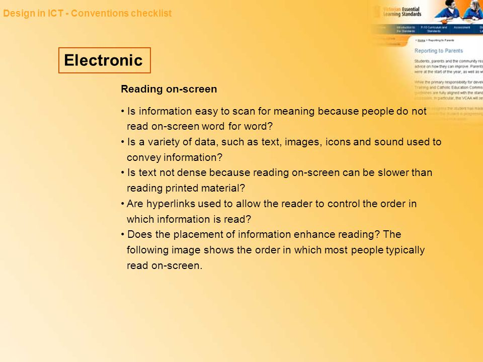 Electronic Reading on-screen