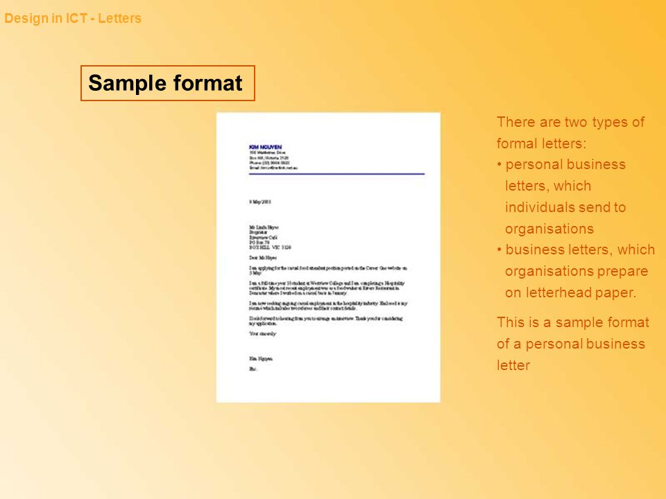 Design in ICT - Letters Sample format.
