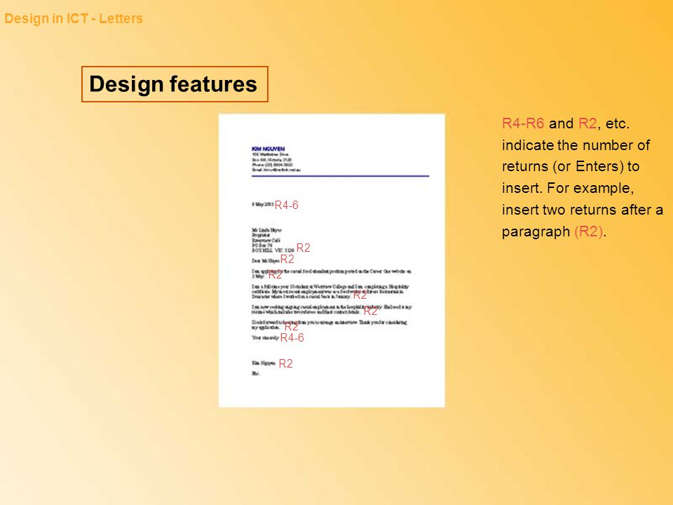 Design in ICT - Letters Design features.