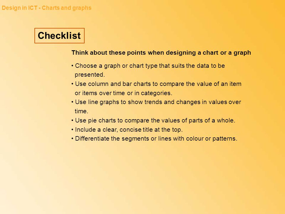 Checklist Think about these points when designing a chart or a graph