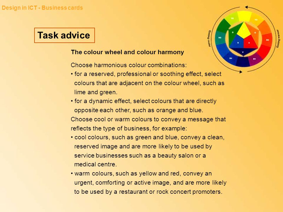 Task advice The colour wheel and colour harmony
