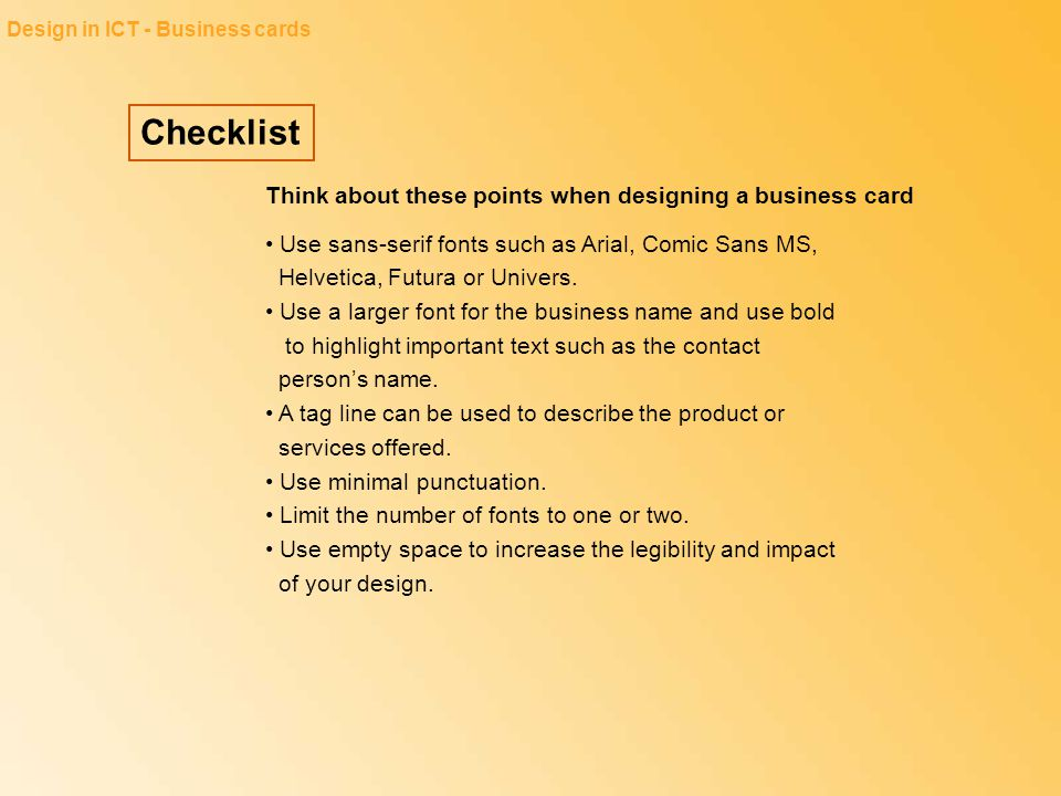 Checklist Think about these points when designing a business card