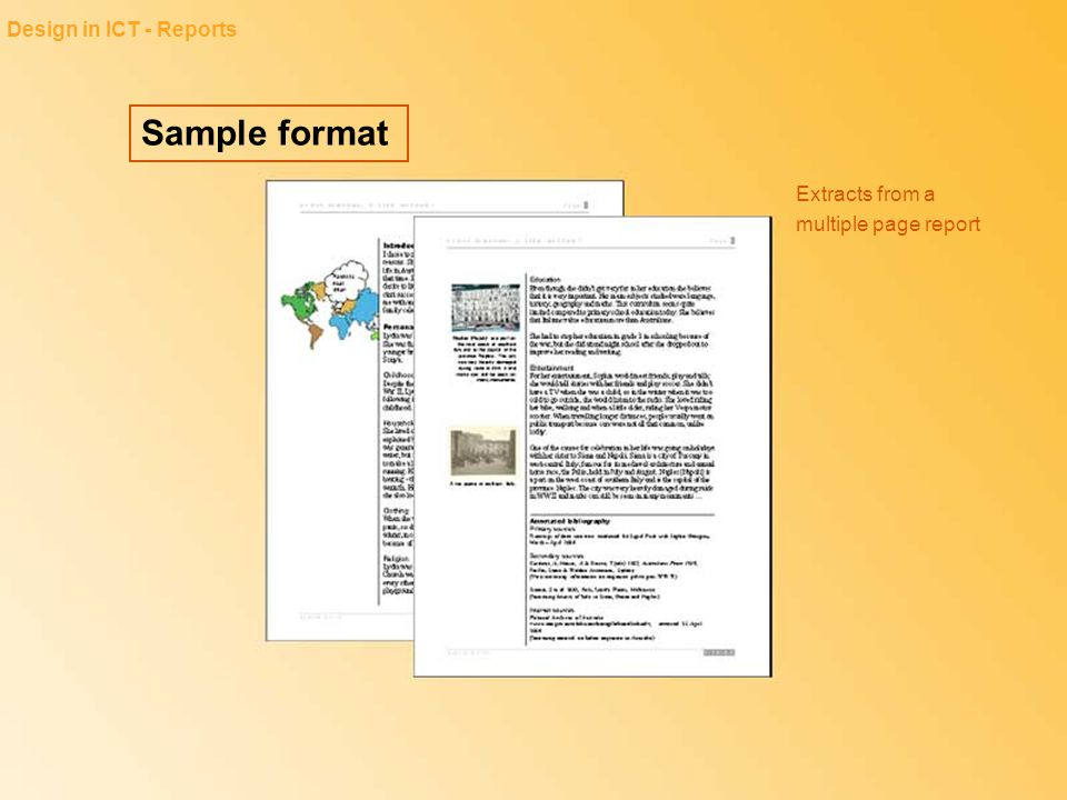 Sample format Design in ICT - Reports