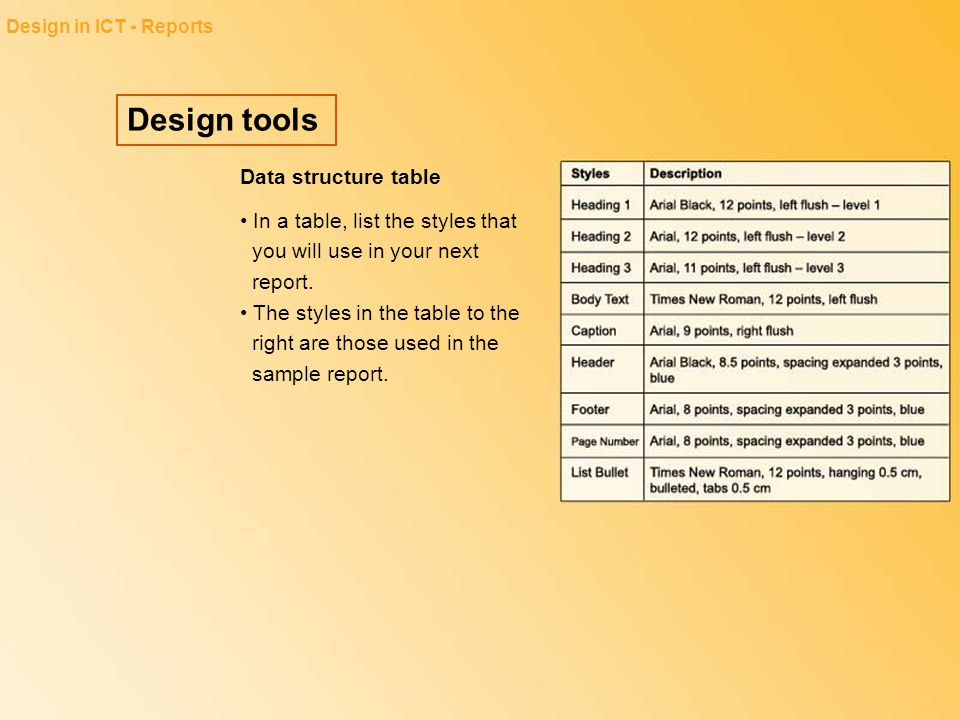 Design tools Data structure table
