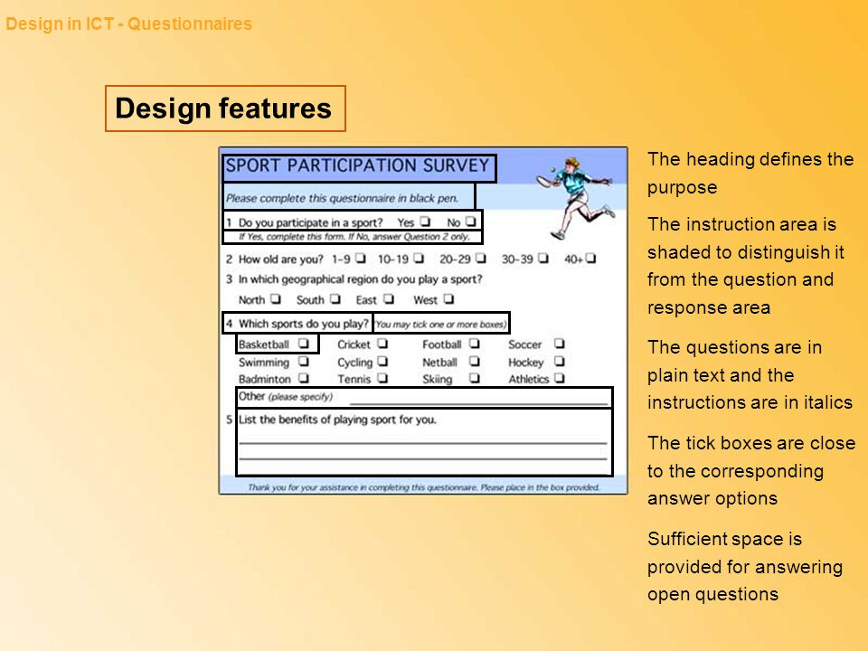 Design features The heading defines the purpose
